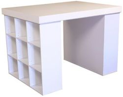 An ideal cutting table with drawers and storage shelves
