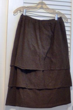 A tiered skirt made with three layers of thin cotton gauze fabric