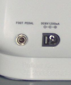 Foot pedal is attached at the rear