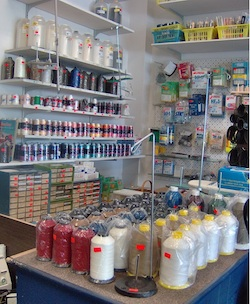 Needles, threads and sewing machine accessories all available at the store